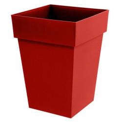 Pot carré mi-haut Toscane Rouge Rubis - 39x39x53cm 51L - EDA Plastiques