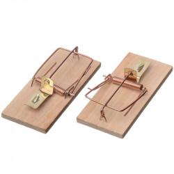 Lot de 2 Tapettes en bois pour rats ou souris - 10 x 4.5 cm - CIS