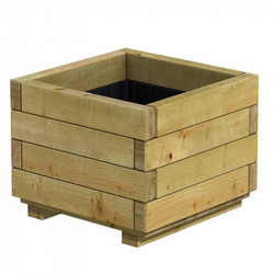 Bac à fleurs carré en bois d'épicéa - Autoclave - 40 x 40 x 32 cm