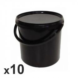 Lot de 10 seaux noirs avec anse et couvercle - 10.7L - Ø 267mm