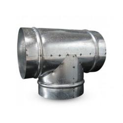 Montaje de T de metal de 200 mm, 90° en el conducto de ventilación
