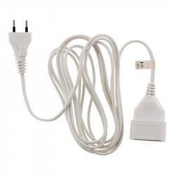 Rallonge électrique - 5m - H03VVH2-F 2x0.75mm² - Blanc - Zenitech