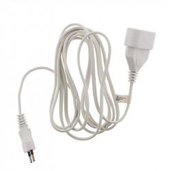 Rallonge électrique - 3m - H03VVH2-F 2x0.75mm² - Blanc - Zenitech
