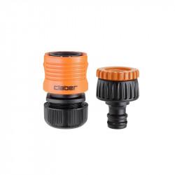 Lot avec nez de robinet + raccord automatique 12/15mm - Claber
